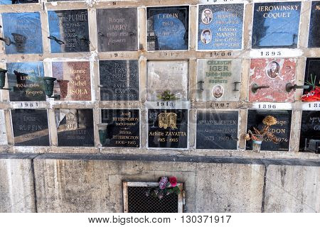 Paris, France - May 2, 2016:  Achille Zavatta Circus Clown Grave In Pere-lachaise Cemetery Homeopaty