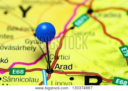 Arad pinned on a map of Romania