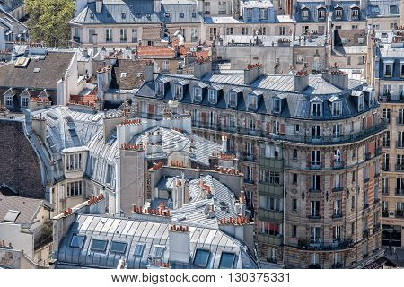 paris roofs and cityview landscape panorama view