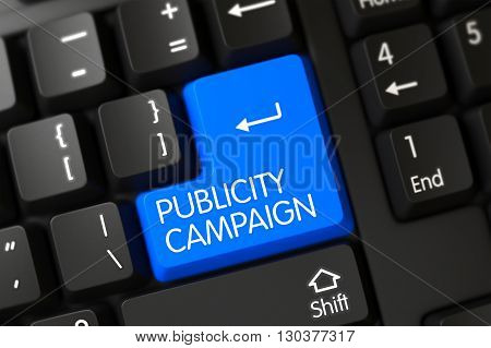 Black Keyboard with Hot Key for Publicity Campaign. Publicity Campaign Concept: PC Keyboard with Publicity Campaign on Blue Enter Button Background, Selected Focus. 3D.