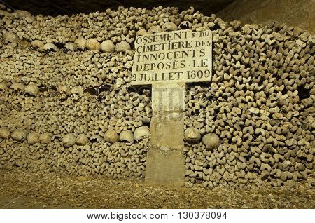 Paris Catacombs Skulls and bones detail close up