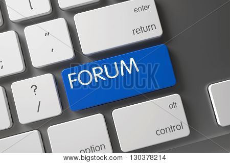 Forum Written on Blue Button of Slim Aluminum Keyboard. Modern Laptop Keyboard with the words Forum on Blue Keypad. Forum on Aluminum Keyboard Background. 3D.