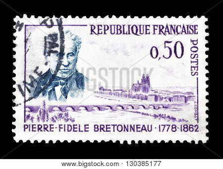 FRANCE - CIRCA 1962 : Cancelled postage stamp printed by France, that shows Pierre Fidele Bretonneau.