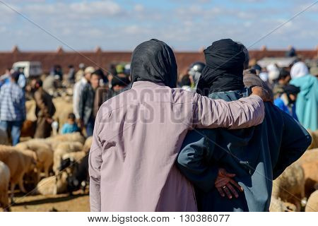 GUELMIM MOROCCO - OCTOBER 31 2015: Two men at the weekly market in the south Moroccan town of Guelmim.
