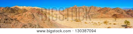 The Negev desert boasts scenic landcapes with varios colors of rocks Eilat Israel.