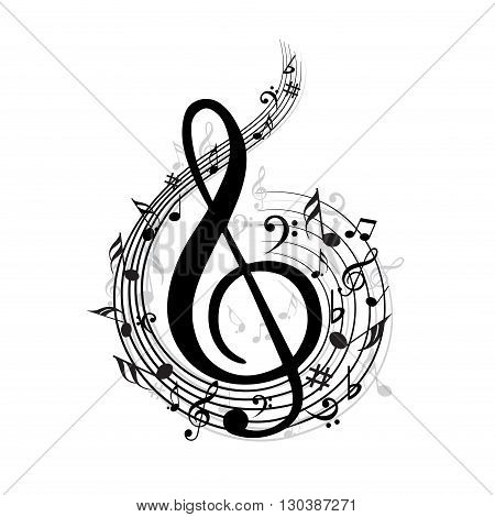 Black color music notes with different symbols