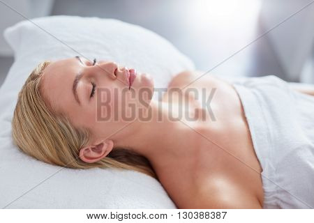 Attractive Woman Relaxing At Dayspa