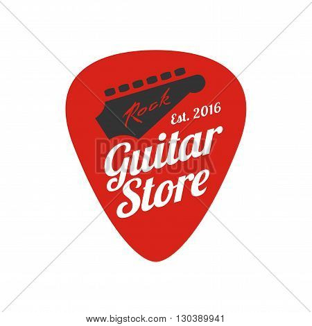 Guitar store vector logo. Music shop design element. Guitar pick illustration