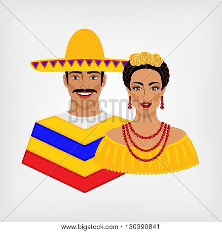 Mexican man and woman in traditional clothes. vector illustration - eps 8