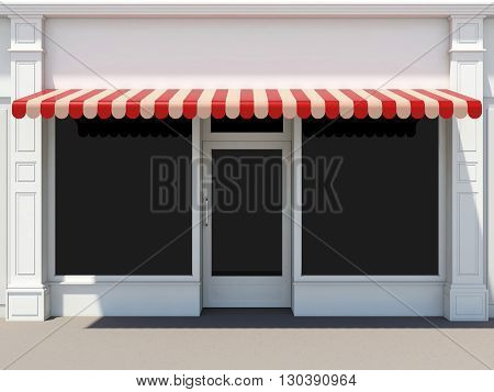 Shopfront in the sun - classic store front with red awnings 3D render