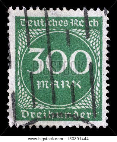 ZAGREB, CROATIA - JUNE 22: A postage stamp printed in Germany shows numeric value, circa 1923, on June 22, 2014, Zagreb, Croatia