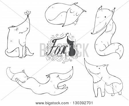Black and white set of hand drawn cute foxes in different poses sleeping sitting jumping standing. Vector illustration with lettering and imperfections good for character design or mascot.