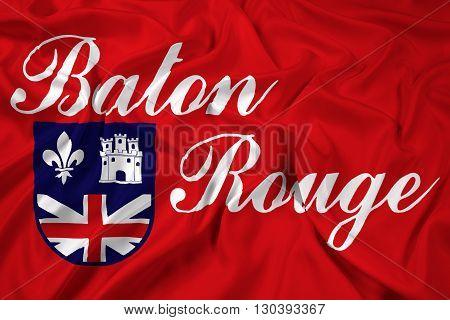 Waving Flag of Baton Rouge Louisiana, with beautiful satin background