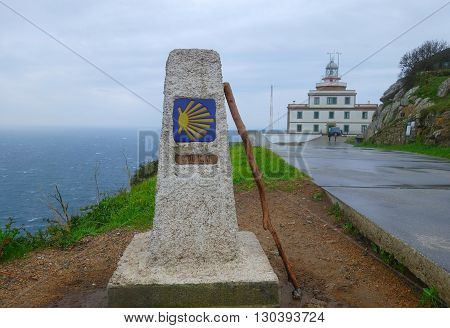 0 km in route to Santiago cope of Finisterre La Coruna Spain