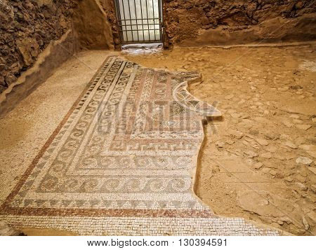 Masada fortress in Israel, fragment of ancient mosaic floor of King Herod's palace