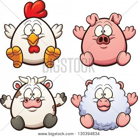 Cartoon egg shaped farm animals. Vector clip art illustration with simple gradients. Each on a separate layer.