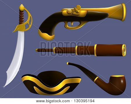 Telescope tube three-cornered hat pistol and sword. A set of things to pirate. In the same style.