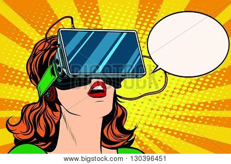 Retro girl with glasses virtual reality pop art retro vector. Woman using virtual reality headset. vr glasses vector