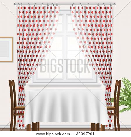 Fragment of kitchen interior. Kitchen window with polka dots curtain and dining table.