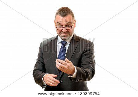 Businessman Pulling Disdainful Face
