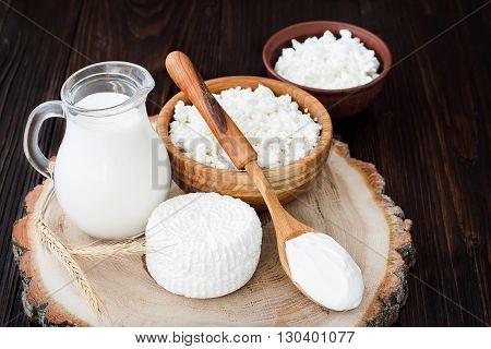 Soft homemade fresh ricotta cottage cheese made from milk draining on muslin cloth. Tzfat cheese with wheat grains. Symbols of judaic holiday Shavuot.