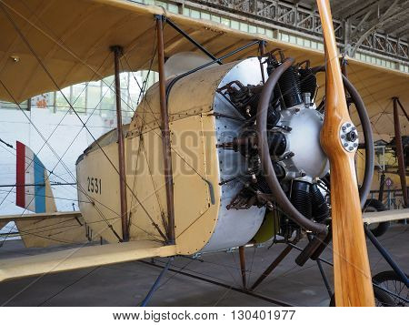 BRUSSELS, BELGIUM-OCT.6: A  Caudron GUI antique military airplane is seen on display at  Royal Museum of the Armed Forces and of Military History Cinquantenaire Park in Brussels, Belgium on October 6, 2015.