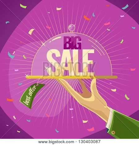 Vector illustration of an Advantageous offer. Big sale on pink background. Illustration for advertising design and web.
