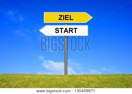 Signpost Roadsign is showing direction Start and Goal in german language