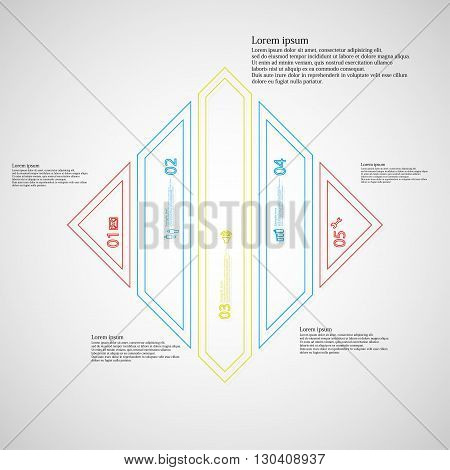 Illustration infographic template with motif of rhombus. Rhombus divided to five color parts. Each part created by double outline contour. Each part contains number text and simple sign.