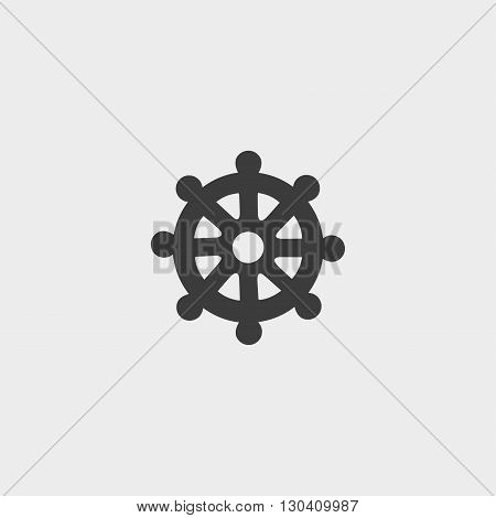 Icon wheel of Dharma in a flat design in black color. Vector illustration eps10