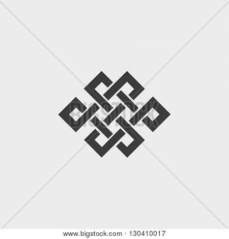 Icon endless knot in a flat design in black color. Vector illustration eps10