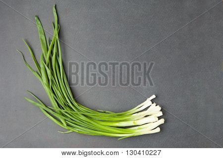 Green Onions On A Dark Background