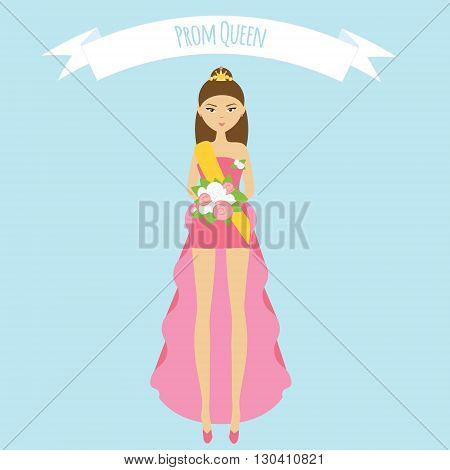 Prom queen flat illustration. Girl in fashion pink dress with roses and golden crown