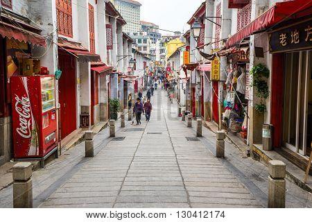 Rua Da Felicidade (street Of Happiness) In Macau