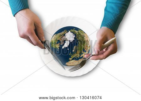 symbolic image of the planet on a platter