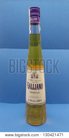 LIVORNO ITALY - CIRCA MAY 2016: Galliano herb liquor bottle. Galliano herb liquor is one of the most popular liquors in Italy dating back to 1896