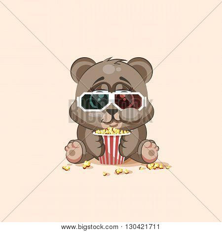 Vector Stock Illustration Emoji character cartoon Bear chewing popcorn, watching movie in 3D glasses sticker emoticon for site, infographic, video, animation, website, e-mail, newsletter, report, comic