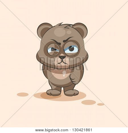 Vector Stock Illustration isolated Emoji character cartoon Bear sticker emoticon with angry emotion for site, info graphic, video, animation, websites, e-mails, newsletters, reports, comics