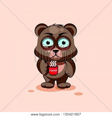Vector Stock Illustration isolated Emoji character cartoon Bear nervous with cup of coffee sticker emoticon for site, info graphic, video, animation, websites, e-mails, newsletters, reports, comics