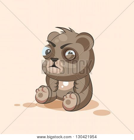 Vector Stock Illustration isolated Emoji character cartoon Bear squints and looks suspiciously sticker emoticon for site, info graphic, video, animation, websites, e-mails, newsletters, reports, comics