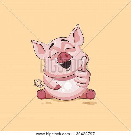 Vector Stock Illustration isolated Emoji character cartoon Pig approves with thumb up sticker emoticon for site, infographics, video, animation, websites, e-mails, newsletters, reports, comics