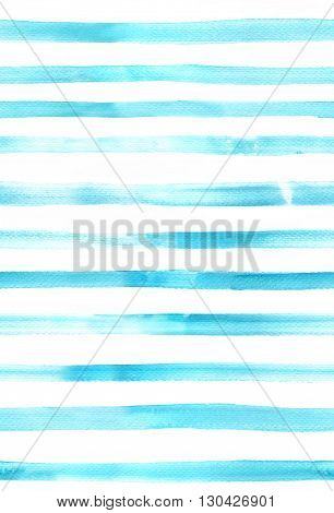 An abstract watercolor texture with teal blue stripes seamless background pattern