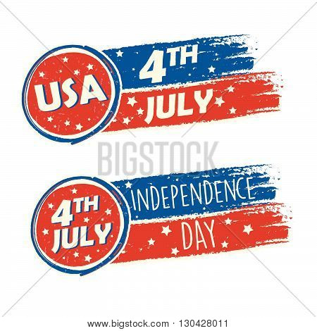 USA Independence Day and 4th of July with stars in drawing banners - American holiday concept, vector