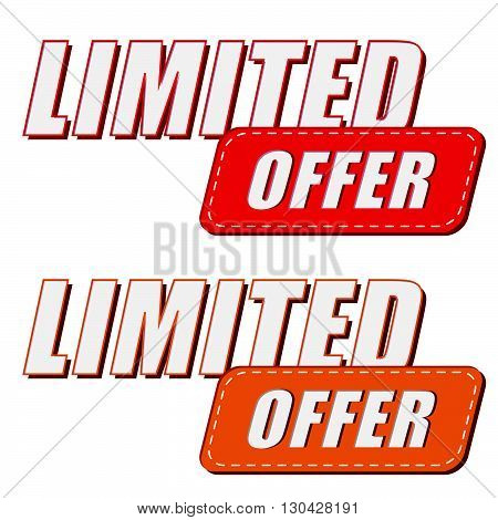 limited offer in two colors labels, business shopping concept, flat design, vector
