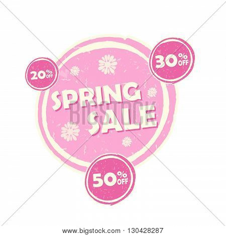 spring sale and 20, 30, 50 percentages off banner - text in pink circular drawn label, business seasonal shopping concept, vector