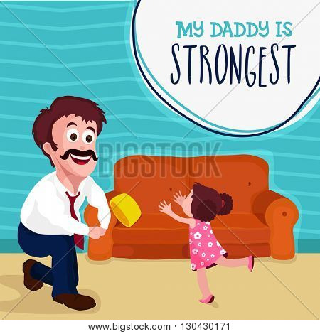 Cute little girl running towards her strongest daddy, Elegant greeting card design for Happy Father's Day celebration.