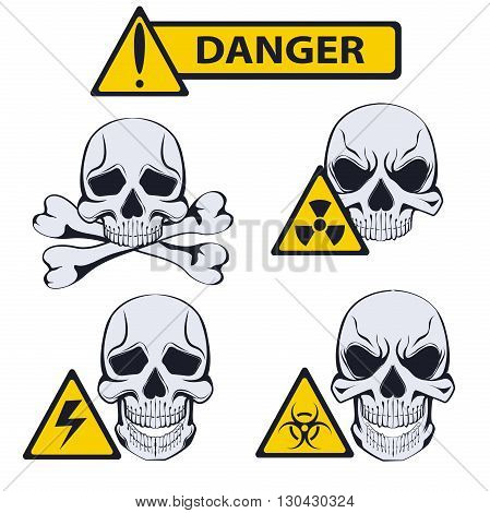 Signs isolated of danger. Set of cautionary signs with monochrome skulls in a stencil style. It can be used for design warning labels. Vector illustration