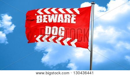 Beware of dog sign, 3D rendering, a red waving flag