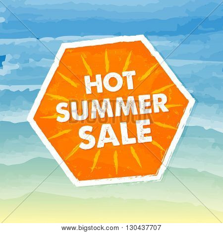 hot summer sale banner - text in orange hexagon label over yellow blue drawn background, business seasonal shopping concept, vector