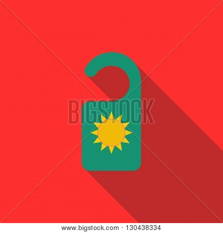 Door knob with sun symbol icon in flat style on red background. Door hanger sign in hotel
